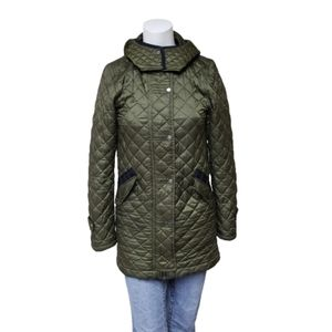 Zara Woman military green quilted jacket w hood